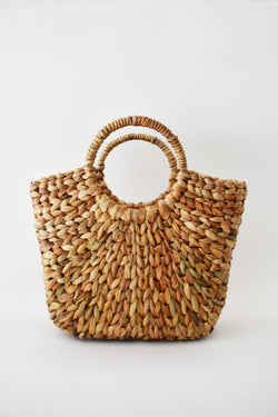 Raffia Bag with Curved Handle