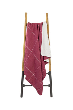 Grid Sherpa Rose Red Throw
