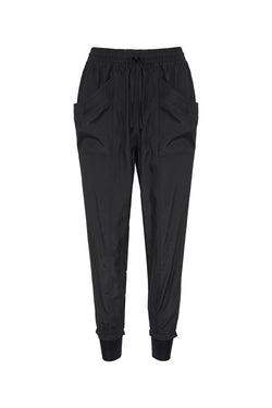 Warrior Black Washer Satin Cuffed Pant