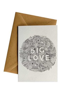 Big Love Flowers White Greeting Card