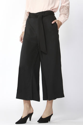 San Marino Cropped Wide Tie Black Pant