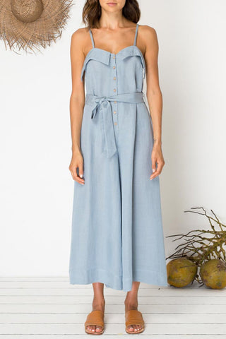 Eyes For You Mineral Blue Linen Jumpsuit