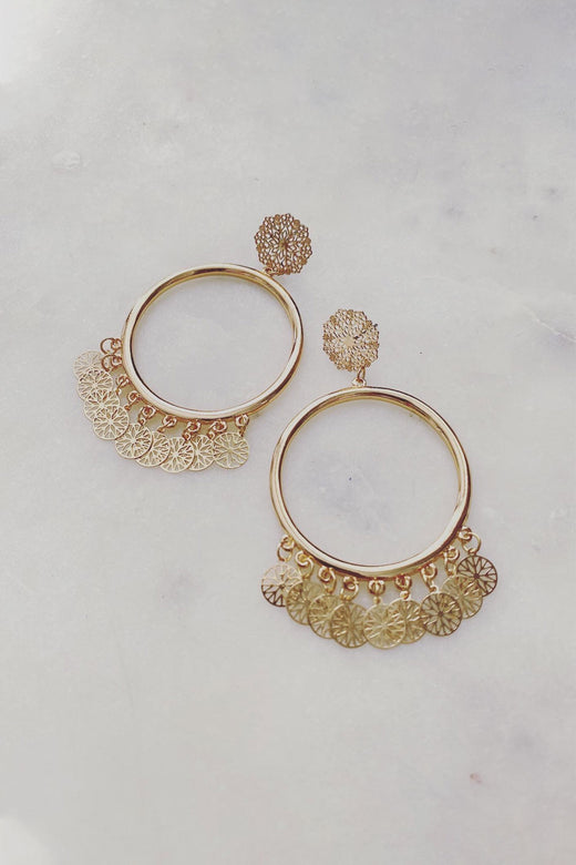 Filigree Gold Hoop Earrings