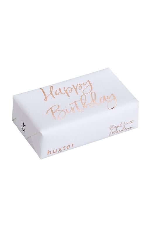 Happy Birthday White with Gold Script Basil Lime + Mandarin Soap