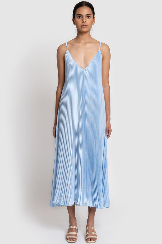 Bisous Strappy Pleated Ice Blue Maxi Dress