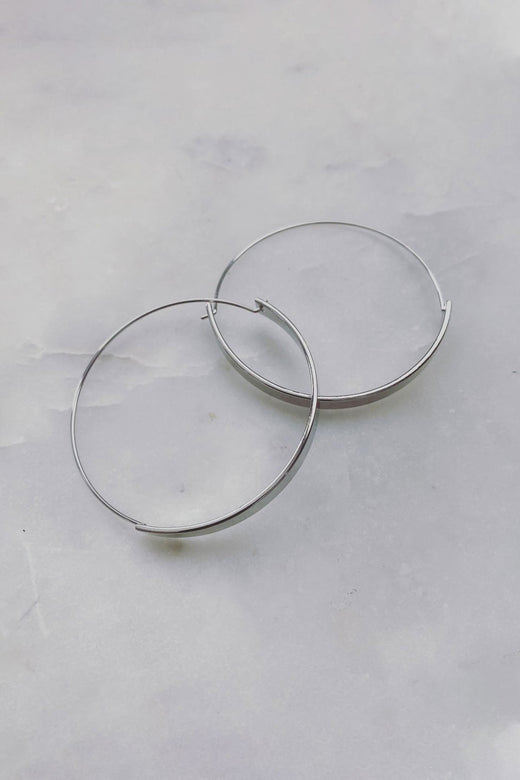 Rhodium Banded Hoop Earrings