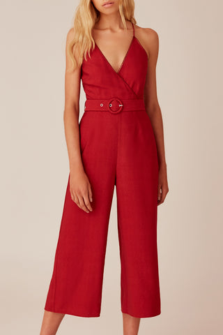 Minute Strappy Belted Berry Jumpsuit