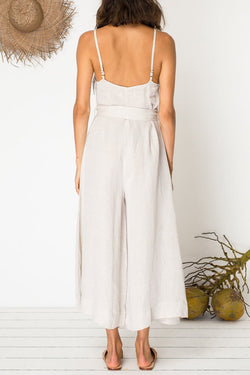 Eyes For You Natural Linen Jumpsuit