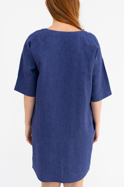 Dove Antonio Navy Mid Sleeve Mini Dress