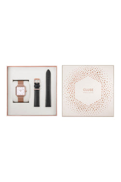 LaTetragone Square Rose Gold Mesh Watch Gift Set