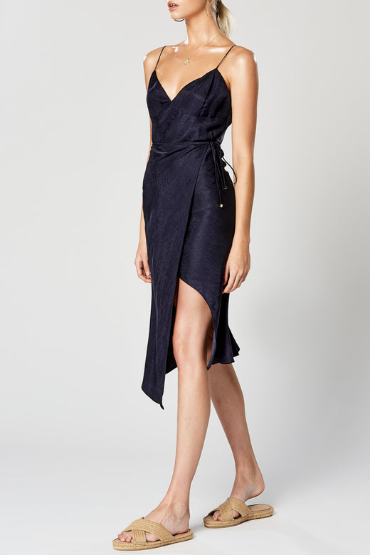 Virtue Strappy Side Split Navy Wrap Midi Dress