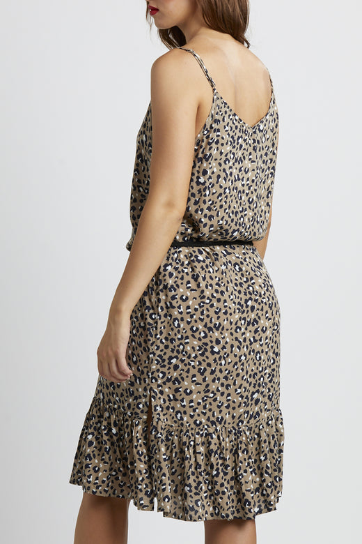 Holly Strappy Relaxed Tan Leopard Midi Dress