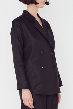 Double Breasted Black Linen Blazer