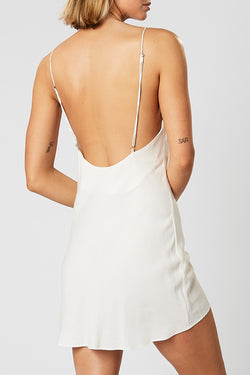 Islet Detailed Strappy Low Back White Mini Dress