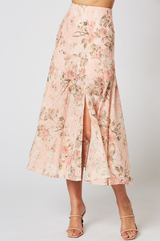 Trove Pink Floral Midi Skirt