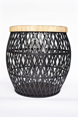 Diona Small Black Rattan Table