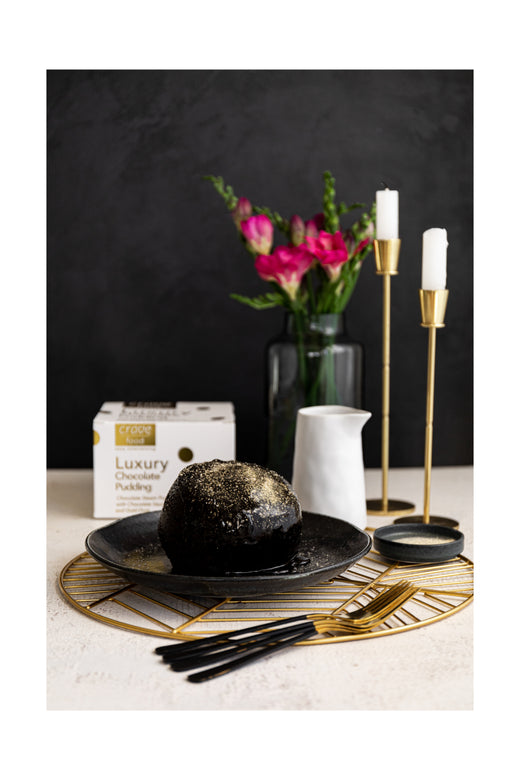 Luxury Chocolate Steam Pudding White and Gold