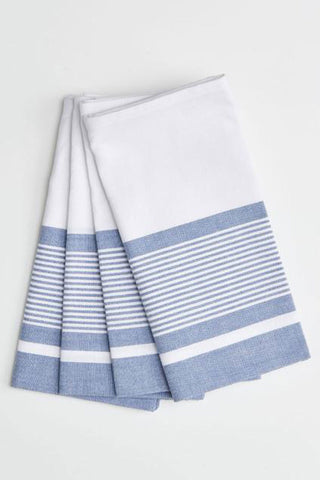 Pondicherry Organic Cotton Arctic White Stripe Napkins Set4