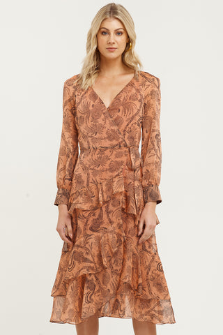 Desert Lily Print LS Dusky Rose Wrap Midi Dress