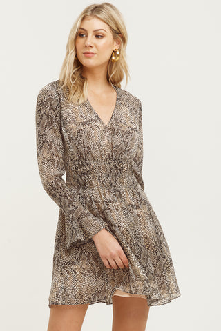 Cobra Print LS Sand Mini Dress