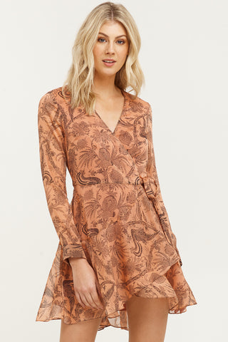 Desert Lily Print LS Wrap Dusky Rose Mini Dress