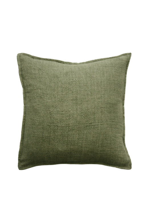 Flaxmill Linen Cushion with Feather Inner Olive 50x50cm