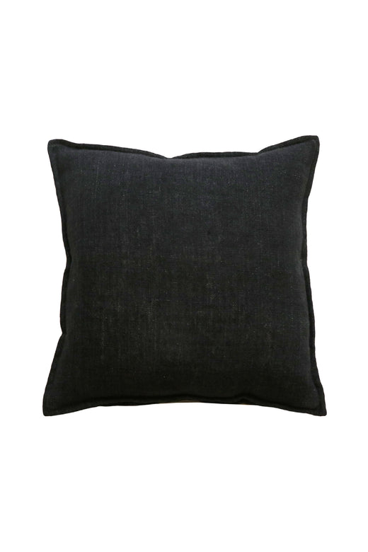 Flaxmill Linen Cushion with Feather Inner Black 50x50cm