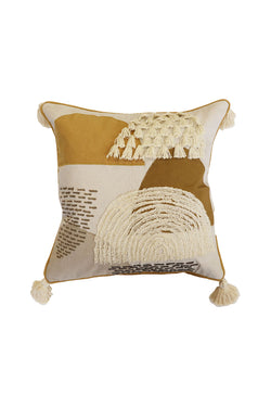 Vito Putty + Ochre Cushion with Corner Tassels 45x45cm