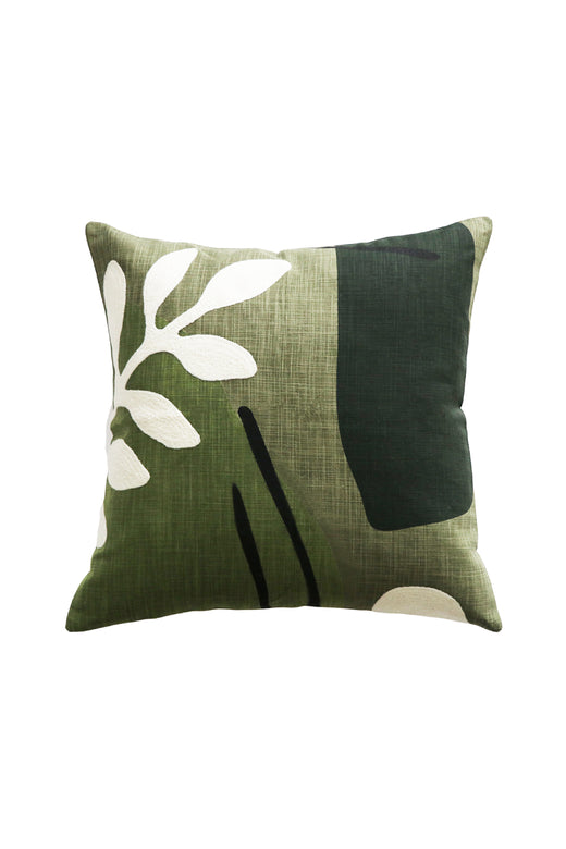 Marquet Cotton Floral Green Cushion with Polyester Inner 45x45cm
