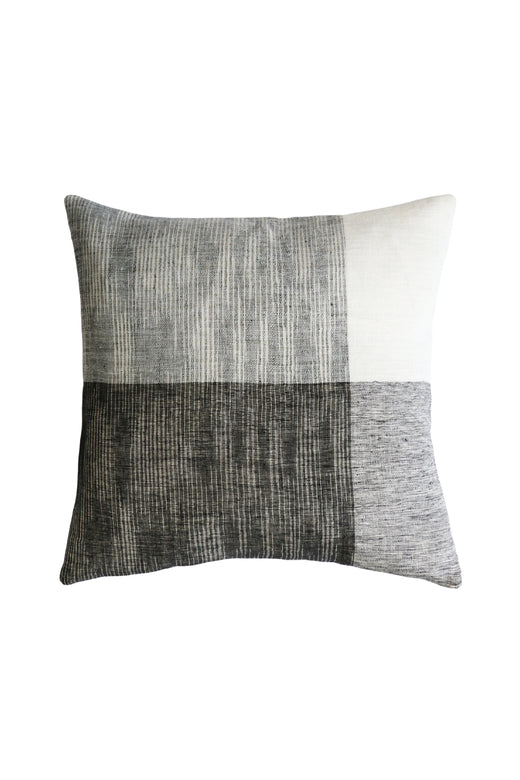 Wilson Linen Cushion with Feather Inner Black White and Grey 50x50cm