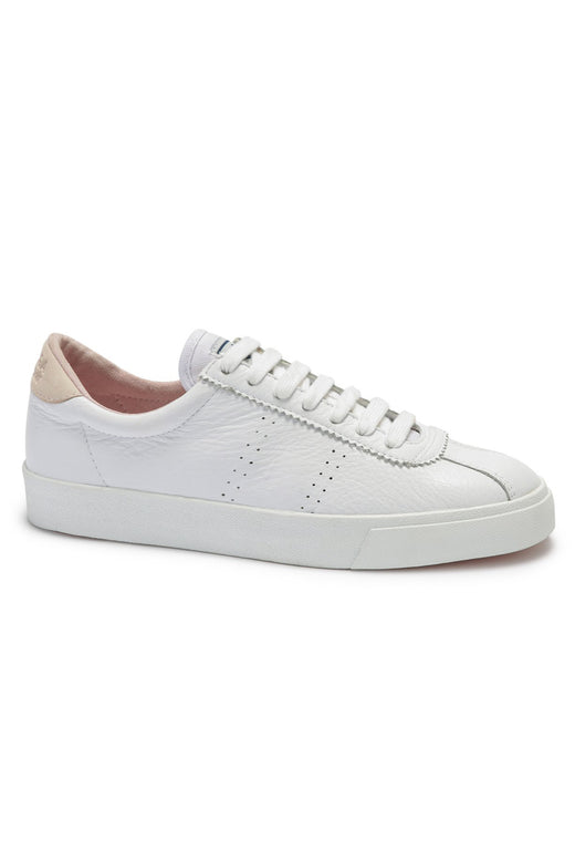 2843 CLUBS Comflea White with Pink Trim Leather Sneaker