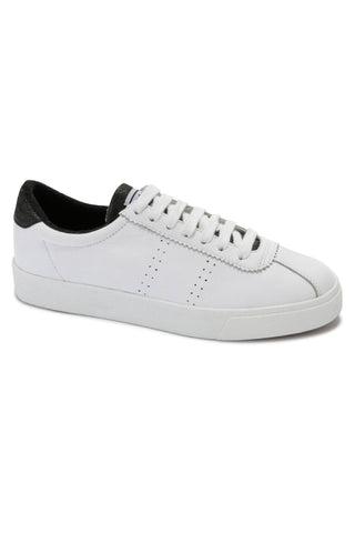 2843 CLUBS Comfleau White with Black Trim Leather Sneaker