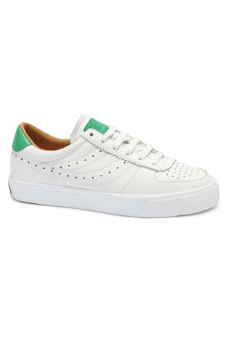 2846 Seattle Perf Logo White with Green Trim Sneaker
