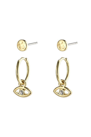 Poesy Two In One Crystal Studs And Third Eye Sleepers Gold Earring Set