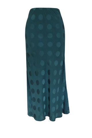Alice Luxury Spruce Green Self Spot Bias Midi Skirt
