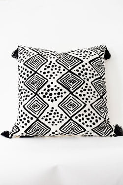 Pintoh White with Black Design and Tassels Cushion 45x45cm