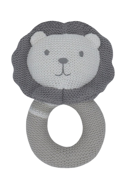 Austin the Lion Knitted Rattle Grey