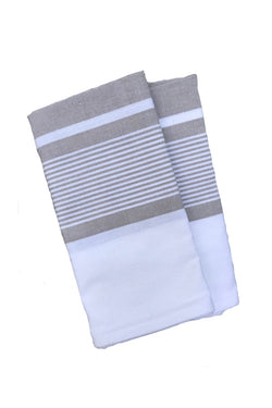 Pondicherry Organic Cotton Latte Stripe Tea Towels Set2