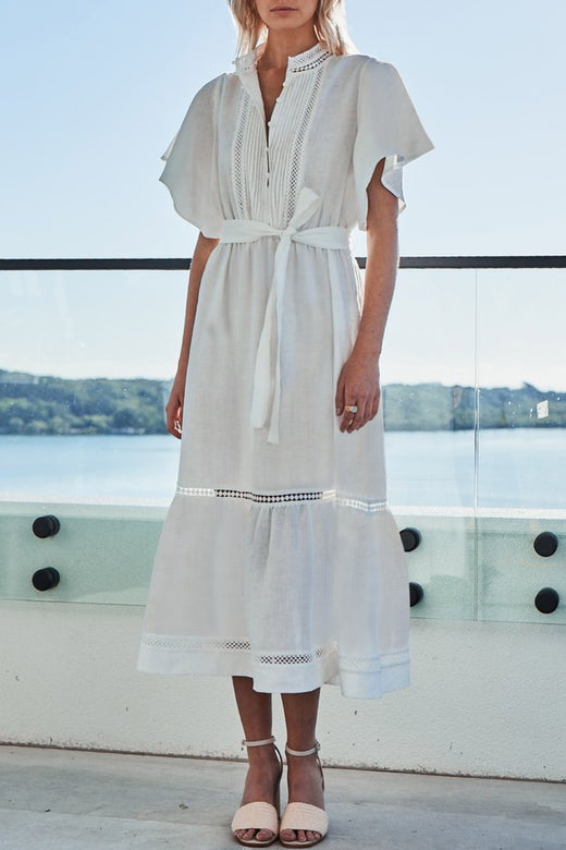 Valiant SS Porcelain White Midi Linen Shirt dress
