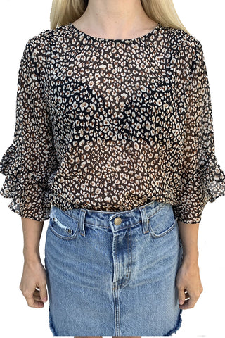 Romance Ruffle Slv Black Animal Print Top