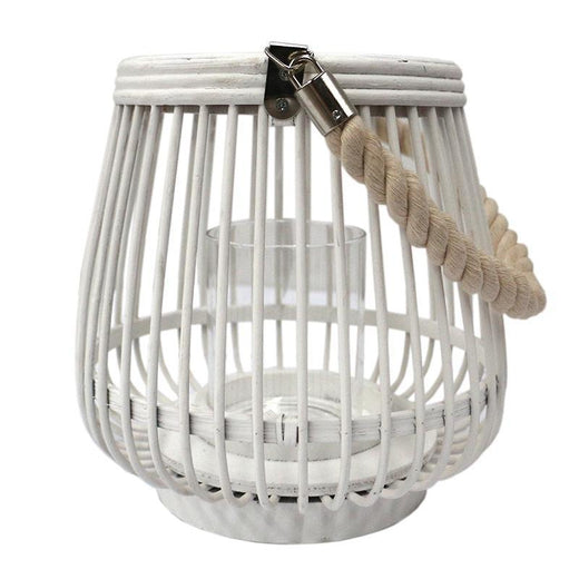 Alabama Bamboo Lantern WHT w rope handle
