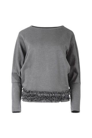 Hem And Now Frill Grey Sweater