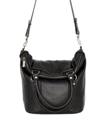 Some Secret Place Twin Fold Over Handles Black Leather Bag