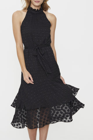 Manhattan High Neck Frill Sheer Spot Dress