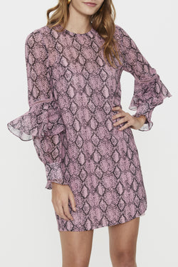 Who's That Girl LS Pink Snake Mini Dress