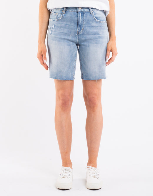 Aja Bermuda Mid Thigh Light Blue Denim Short