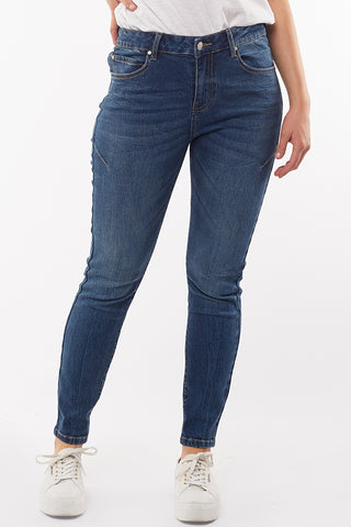 City Mid Rise Skinny Blue Denim Jean