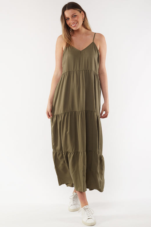 Miracle Khaki Tiered Midi Dress