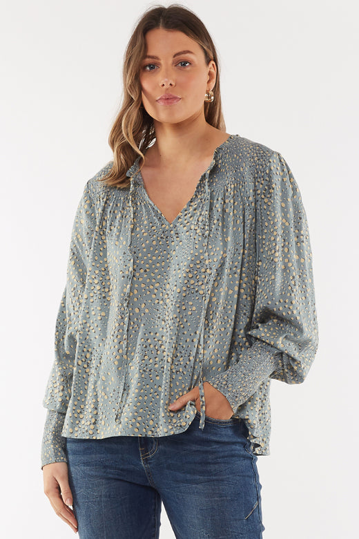 Kaiya Shirred Silver Grass Top