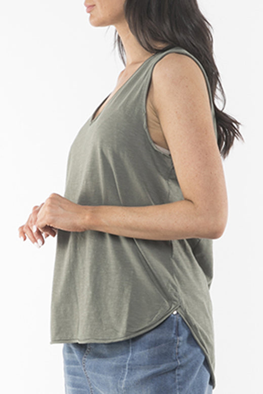 Balthazar Scoop Neck Khaki Knit Tank
